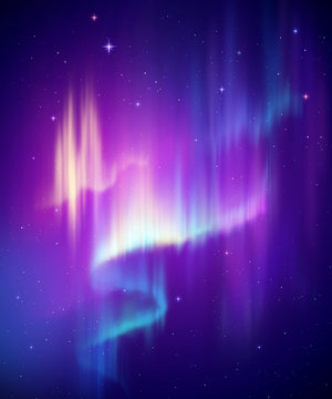 Aurora Borealis abstract background, northern lights in polar night sky illustration, natural phenomenon, cosmic miracle, wonder, neon glowing lines, ultraviolet spectrum