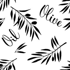 Food black and white seamless pattern with olive branch and olive oil lettering in hand drawn watercolor style. Vegetarian cuisine illustration.