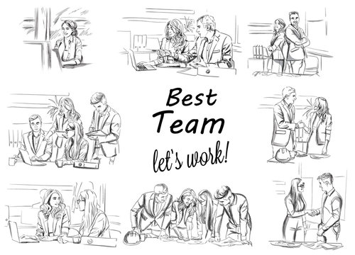 Business team working Vector storyboard. Business woman working on laptop. Team having a meeting Vector. Business projects. Storyboard digital template. Sketch style line arts