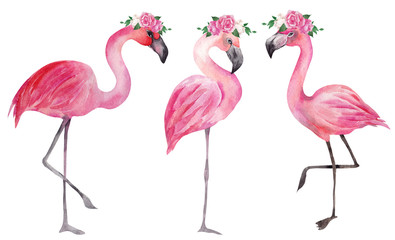 Watercolor illustration with pink flamingo and flowers