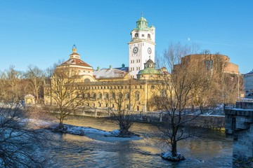 Mullersches Volksbad indoor swimming pool with river Isar in winter, Munich, Germany, Europe