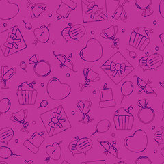 Seamless pattern with heart and other signs for the Happy Valentine's Day. For holidays greeting cards,banners,wallpapers and craft paper.Vector illustration