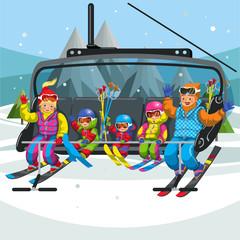 Happy cartoon family riding in ski lift