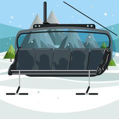 Empty ski chair lift on mountains background