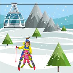 Cartoon mom teaching little daughter how to ski
