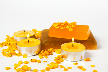 items for bodycare and relaxation - handmade soap, oatmeal and candles