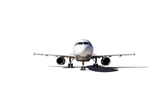 Commercial air plane on a white background .