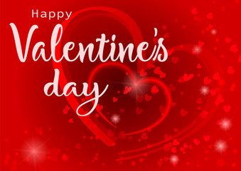 Happy Valentine's Day illustration. Banner with lettering. Conceptual image of a heart on a red abstract background design holiday