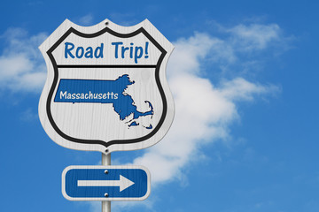 Massachusetts Road Trip Highway Sign