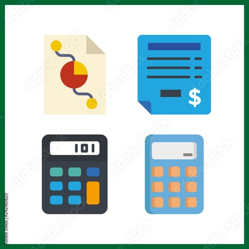 4 Budget Icon Vector Illustration Budget Set Calculator And Pie