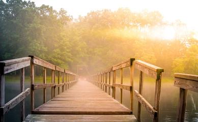 Footbridge at Sunrise in the fog