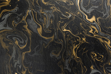 marble ink paper texture black grey gold Wall mural