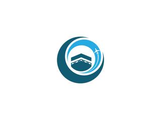 kaaba and plane vector logo