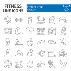 Fitness thin line icon set, sport symbols collection, vector sketches, logo illustrations, workout signs linear pictograms package isolated on white background.