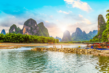 Photo sur cadre textile Guilin The Beautiful Landscape of Guilin, Guangxi..