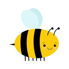 Vector Cute Cartoon Bee Isolated On White Background