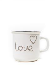 White coffee mug with love
