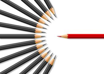Concept de la liberté d'expression avec pour symbole un crayon rouge face à des crayons noirs en opposition frontale.