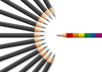 Concept de l'homophobie avec pour symbole un crayon aux couleurs des homosexuels face à des crayons noir en opposition.