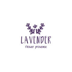 Template label logo design of abstract icon lavender. Vector illustration