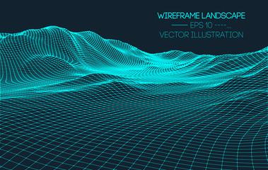 Retro background futuristic landscape 1980s style. Digital retro landscape cyber surface. 80s party background . Retro 80s fashion Sci-Fi Background Landscape. Vector EPS 10