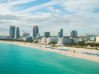 Aerial drone photography Miami Beach Florida coastline
