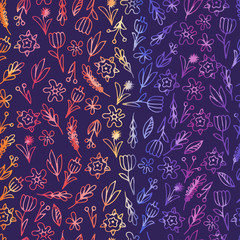 Hand drawn floral seamless patterns ornaments with flowers and leaves.Vector illustration