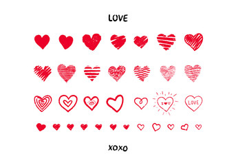 Set of red hand drawn textured vector hearts.