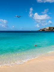 Maho beach in St Martin: one of the main attractions for plane spotters!