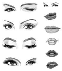 Eyes and lips hand drawn set