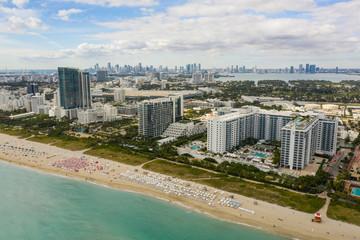 Aerial photo beachfront resorts and condominiums Miami Beach