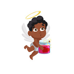 Afro cupid holding  jar with pink potion illustration. Kid, love, romantic. Saint Valentines Day concept. Vector illustration can be used for topics like romantic, love, celebration, greeting card