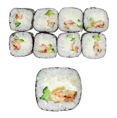 Sushi roll with eel, cheese philadelphia and cucumber. Isolated on white background.