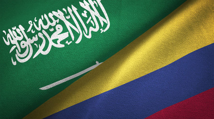 Colombia and Saudi Arabia two flags textile cloth fabric texture