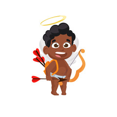 Afro cupid with bow and arrows illustration. Kid, love, romantic, angel. Saint Valentines Day concept. Vector illustration can be used for topics like romantic, love, celebration, greeting card