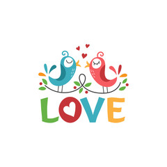 Template icon of birds in the love.Vector illustration