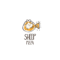 Template icon of funny pizza with sheep chef.Vector illustration