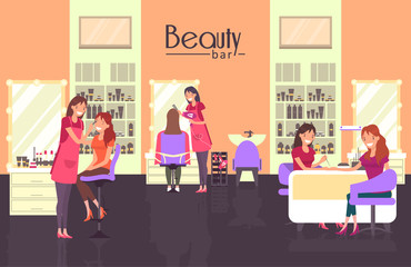 Beauty bar with nail master and haircutter
