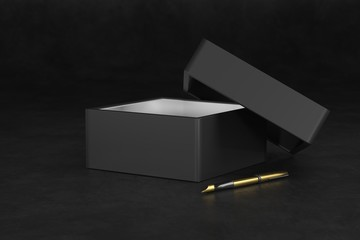 Black Gift Box packaging Mockup on black background. Luxury packaging boxes for premium products. Elegant black box. 3d rendering.