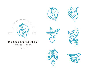 Vector icon and logo peace and charity. Editable outline stroke size. Line flat contour, thin and linear design. Simple icons. Concept illustration. Sign, symbol, element.