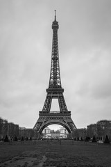 Eiffel Tower seen from Champ de Mars. UNESCO World Heritage Site. Paris landmark in black and white.