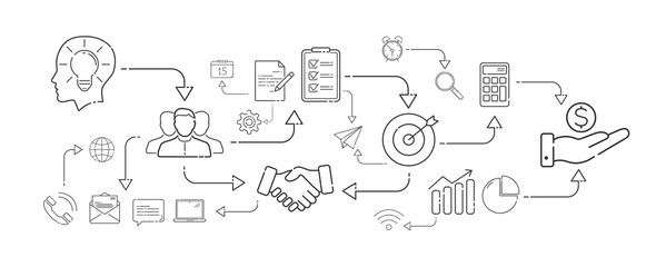 Wall Mural - Business plan in thin line icons style