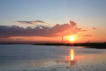 Sunset on the Isle of Grain, Kent, UK