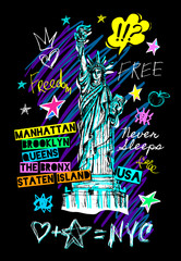 New York city statue of liberty, freedom, poster, t shirt, sketch style lettering, trendy graphic dry brush stroke, marker, color pen, ink America usa, NYC, NY. Doodle hand drawn vector illustration.
