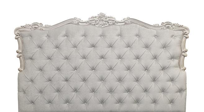 Grey velvet bed headboard isolated on white