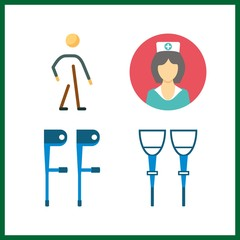 4 disabled icon. Vector illustration disabled set. walker and nurse icons for disabled works