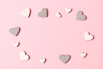Valentine's day background in minimalism style. Hearts, background, place to insert text.