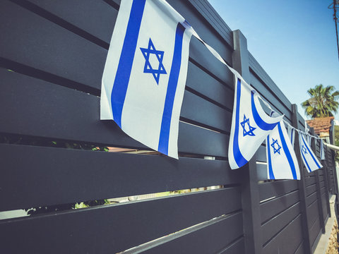 The flag of Israel on the Yom Haatzmaut, Israel Independence Day.