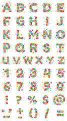 Vector set letters, numbers and punctuation mark of the alphabet for kids of the colored balls.