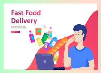 Landing page templates with people who prepare healthy organic food, simple recipes, how to choose products in the supermarket, food delivery and fast food. Culinary blog or diet concept